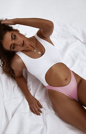9.0 Swim San Andres Cut Out One Piece Pink and White