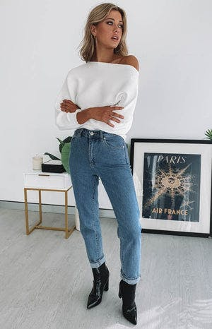 Alyce Off Shoulder Knit White