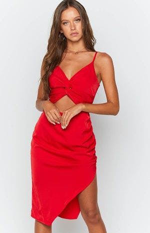 Aubrey Midi Dress Red