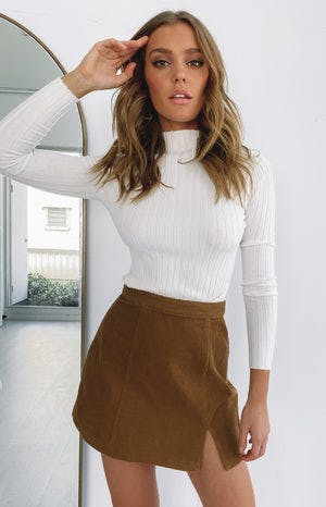 Beyond Her Gemini Mini Skirt Tan