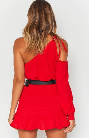Bailey One Shoulder Dress Red