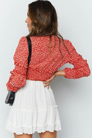Colette Long Sleeve Crop Red Floral