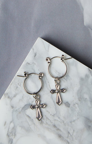 Eclat Java Cross Earrings Silver