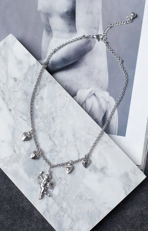Eclat Long Distance Cherub Necklace Silver