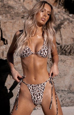 9.0 Swim Fraser Triangle Bikini Top Leopard