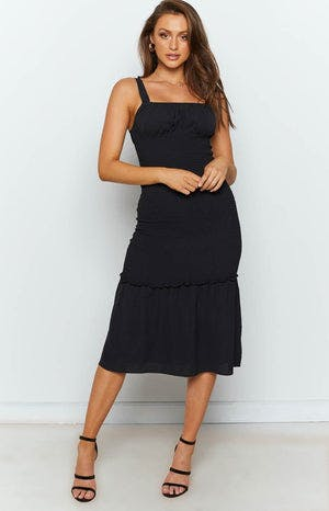 Girls Like You Midi Shirred Dress Black