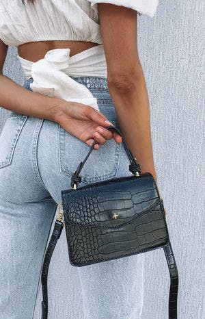 Peta & Jain Anna Grip Handle Mini Bag Black Croc