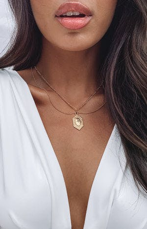 Eclat Romantic Double Layer Necklace Gold