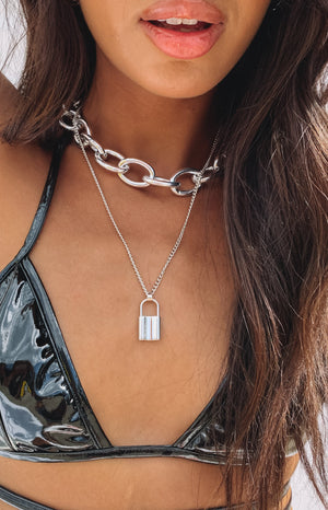 Eclat Katherina Lock Necklace Silver