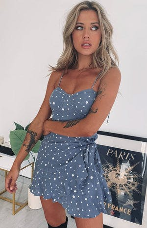 Hazel Dress Blue Polka
