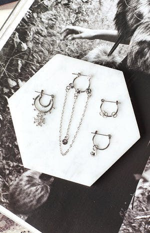 La Lune Bewitched 4 Piece Earring Set Silver