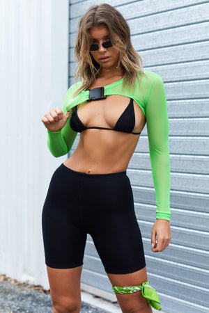 Icy Long Sleeve Extreme Crop Fluro Green