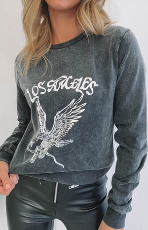 Los Angeles Long Sleeve Tee Black Acid Wash