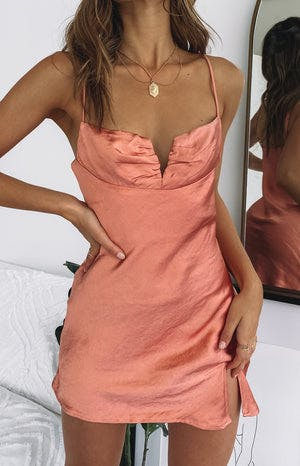Omi Mini Satin Dress Rust