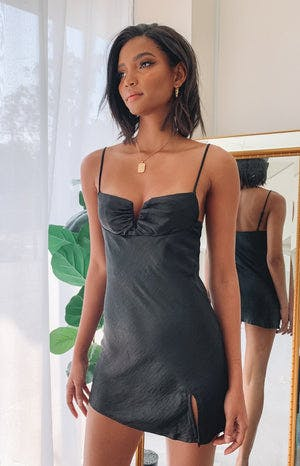 Omi Mini Satin Dress Black