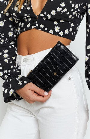 Peta & Jain Marley Wallet Black Croc (FREE Over $150)