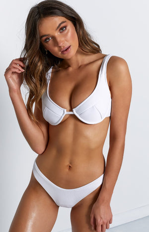 9.0 Swim Serena Underwire Bikini Top White Ribbed