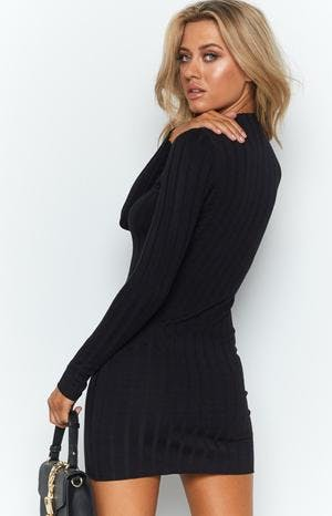 Suzie Ribbed Fitted Dress Black