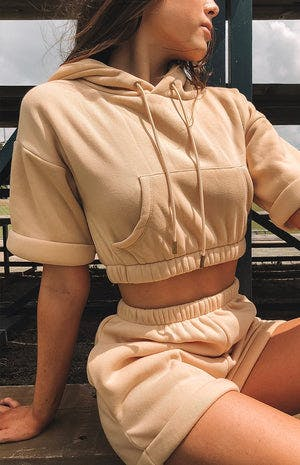 Take Off Cropped Hoodie Nude