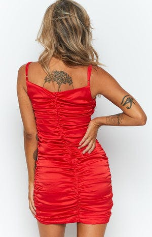 Trophy Party Ruched Mini Dress Red Satin