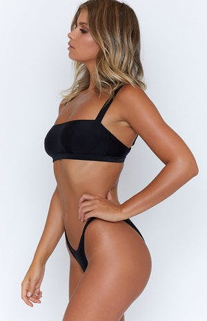 9.0 Swim Santorini String Bikini Bottoms Metallic Black