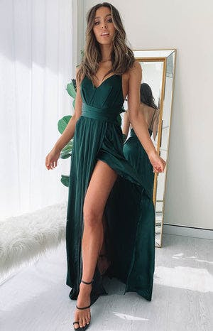 Katrina Split Maxi Dress Green
