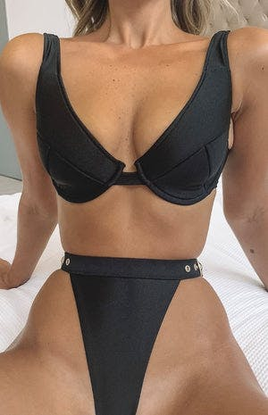 9.0 Swim Serena Fuller Cup Bikini Top Metallic Black