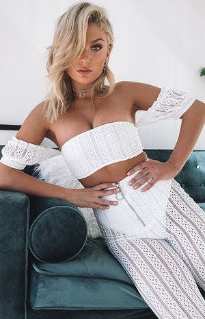 Sophie Lace Crop White