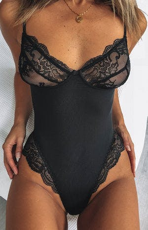 Acadia Lace Bodysuit Black