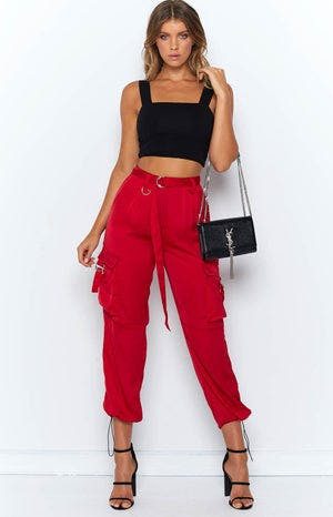 Yours Truly Silky Cargo Pants Red